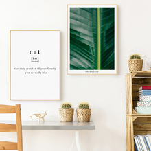 Modern Nordic Tropical Green Plants Cat English Phrase Canvas Decorative Painting Print Art Picture Poster Wall Home Decor Mural