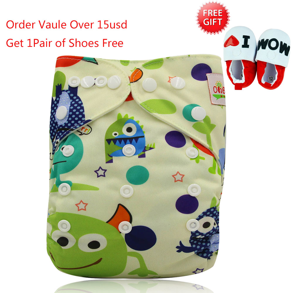 Ohbabyka One Size Pocket Cloth Diaper Washable Reusable Infant Nappy Cover Waterproof PUL Baby Cloth Diapers with Lovely Printed [mumsbest] 3pcs washable waterproof baby nappy pul suit 3 15kgs adjustable boy diaper covers car print design cloth diaper cover