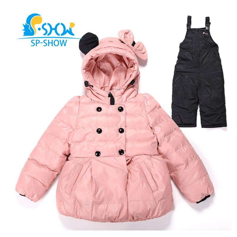 2018 SP SHOW бренд Детские зимние штаны осень Детская Верхняя одежда куртка с капюшоном для мальчиков и комплекты одежды для девочек костюм на пу