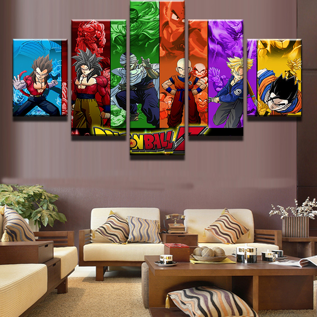 5 Pcsset Framed Hd Printed Dragon Ball Z Goku Movie Poster Wall