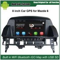8 بوصة شاشة السعة اللمس سيارة مشغل الوسائط ل مازدا 6 mazda6 gps للملاحة بلوتوث مشغل فيديو مع wifi