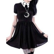 Женское облегающее Черное мини-платье с принтом Луны в готическом стиле панк на пуговицах с коротким рукавом 4,29