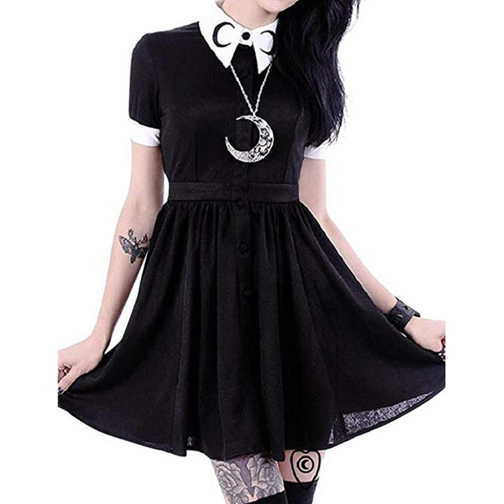 Women Moon Print Gothic Punk Slim Fit Black Button Down Short Sleeve Mini Dress         4.29