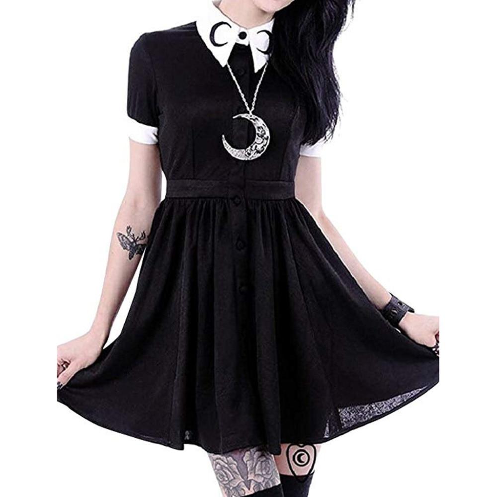 Women Moon Print Gothic Punk Slim Fit Black Button Down Short Sleeve Mini Dress         4.29
