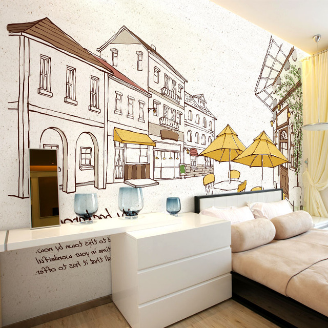 cartoon tapete moderne mural selbstklebe pers nlichkeit stra e hintergrund wand mural stadt hand. Black Bedroom Furniture Sets. Home Design Ideas