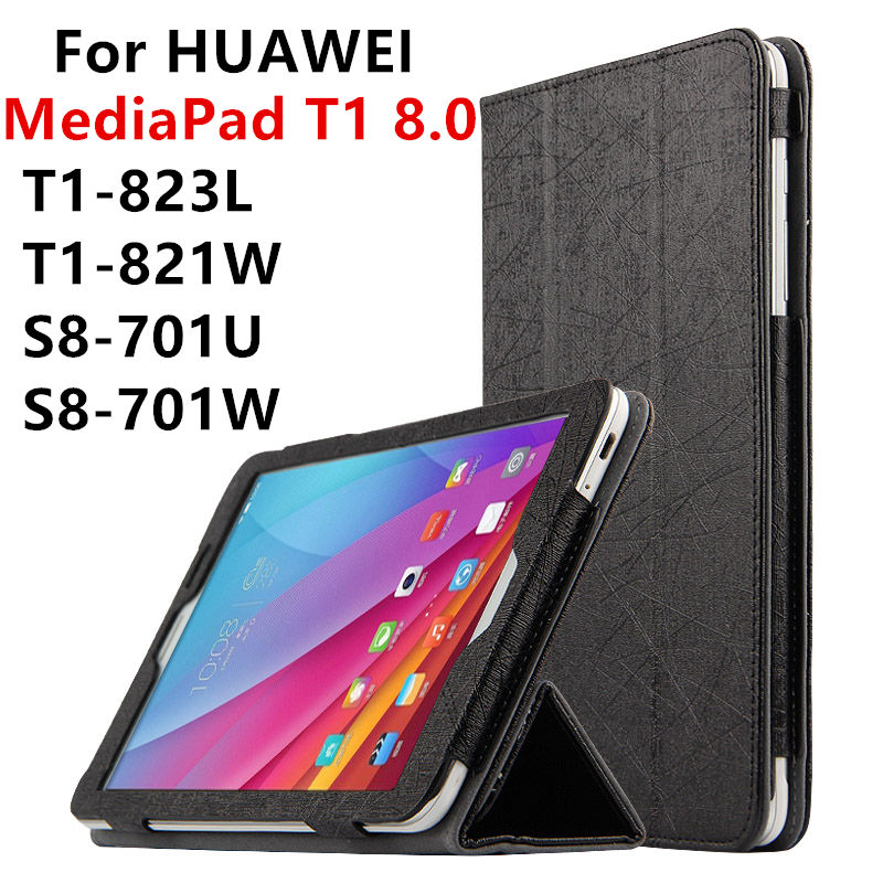 Case For Huawei MediaPad T1 8.0 PU Leather Smart cover Protective Tablet PC For HUAWEI Honor T1-823L T1-821W S8-701U/W Protector case pu for huawei mediapad t1 7 0 protective smart cover faux leather 7 0 inch tablet for huawei t1 701u pu case protector
