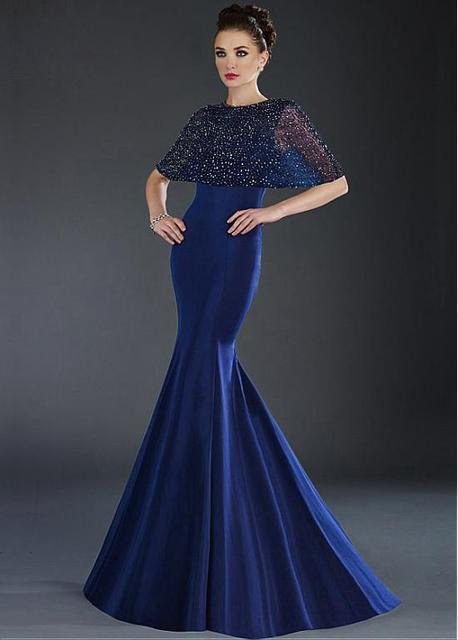 875064f2f90c89 Azul real de La Sirena Baile Vestidos Largos 2017 Con Capa De Cuentas satén  Formal de