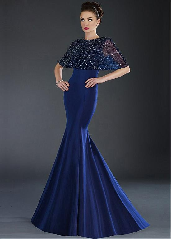 Royal Blue Mermaid Long Prom Dresses 2017 With Beaded Cape ...