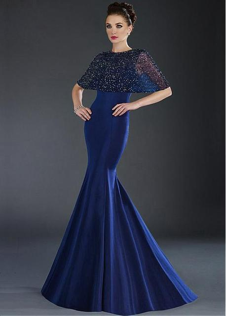 Royal Blue Mermaid Long Prom Dresses 2017 With Beaded Cape Satin Formal  Evening Party Dress Night Wear For Women Cheap Custom d43afc79018c