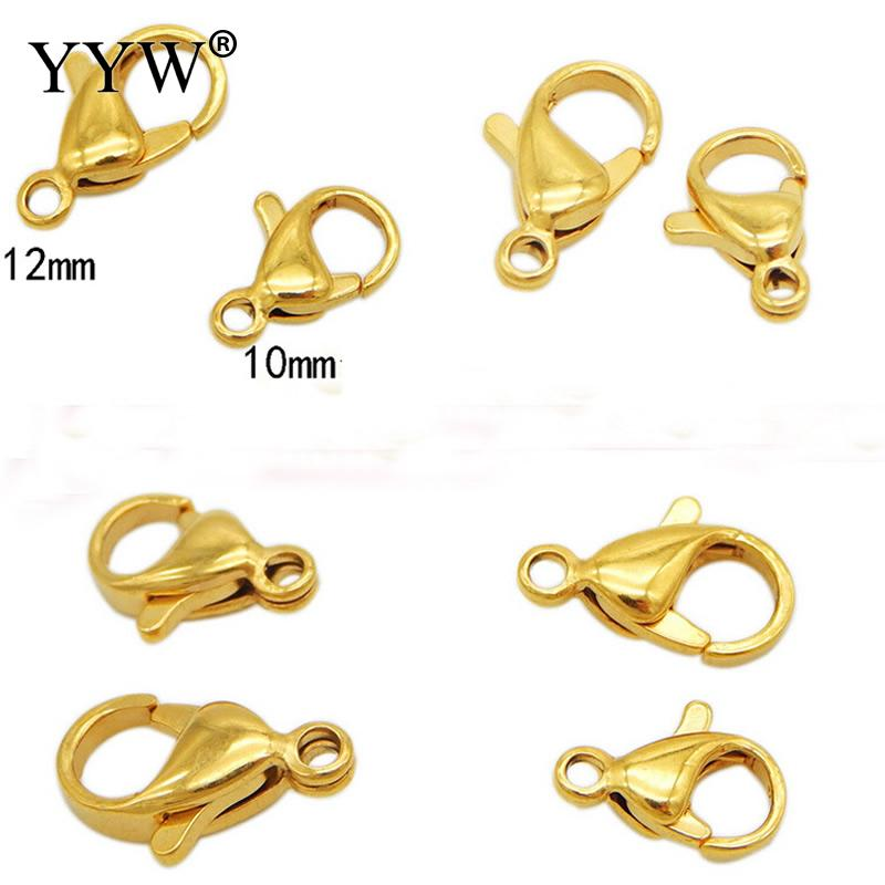 YYW Stainless Steel Loose Lobster Clasp Claw Wholesale 10pc Bag High Quality 10 12 Mm Jewelry Making For DIY Necklace Bracelet in Jewelry Findings Components from Jewelry Accessories