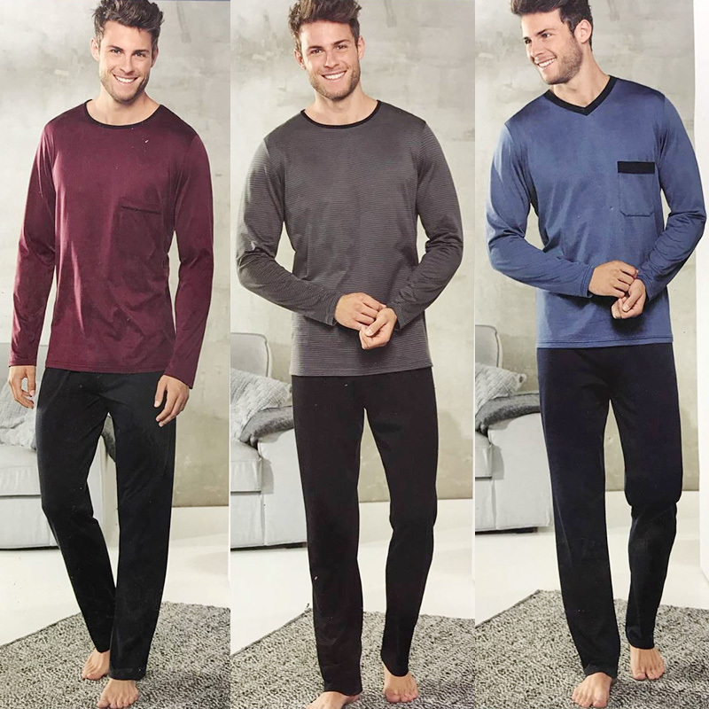 New Pajamas For Men Long Sleeve Trousers Cotton Woven Sleepwear Mens Pajamas Set Pijama Pullover