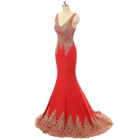 Backlackgirl Hot Charming Red Mermaid Evening Dress 2018 Sexy V Neck Gold Appliques Prom Dress Backless