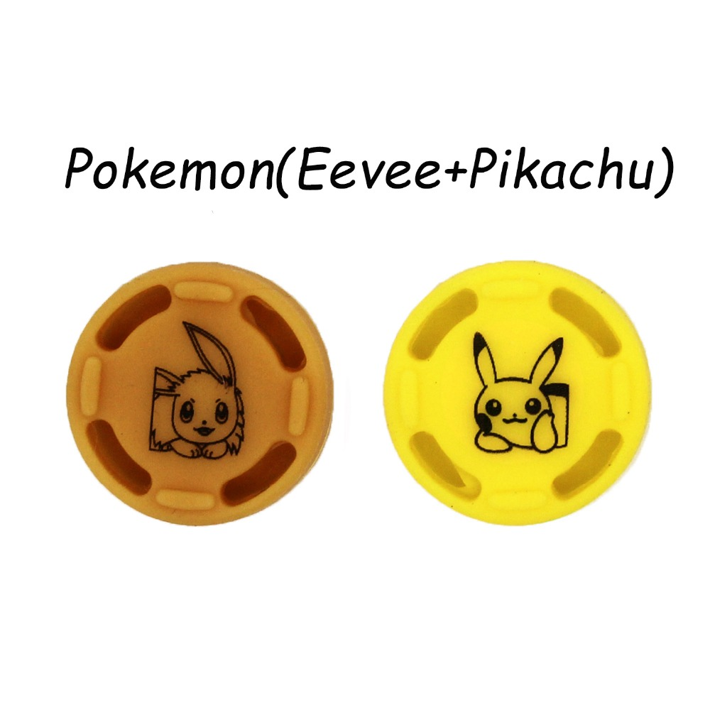 2PC Eevee Pikac Silicone Analog Thumb Stick Grips Caps For Nintend Switch NS JoyCon Controller Sticks Cap Skin For Joy Con Cover