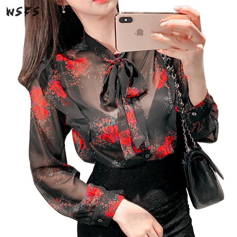 Spring Womens Black Print Floral Chiffon Shirts Long Sleeve Loose Bow Tops Blouses See Through Office Lady Ruffles Blouse Shirt