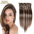 Grampo em extensões do cabelo humano Real clipe ins extensões cabeça cheia grampo de cabelo P4 / 27 de cor 220 g 8 pcs