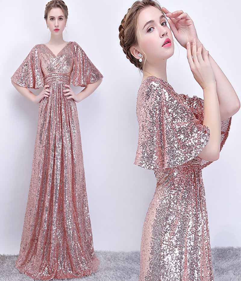 Champagne/Nevy V Neck Sequins Large Size Evening Formal Dresses Flare Sleeve Long Luxury Party Dresses Red Carpet Ball Gown 3XL
