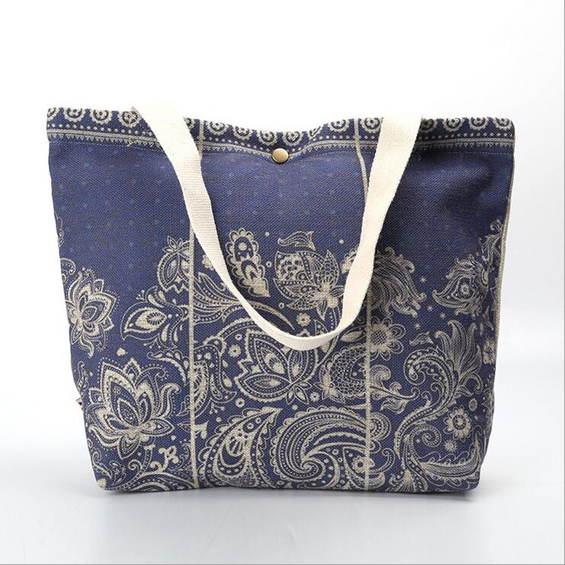 Vintage Floral Printed Casual Women Tote Bags Handbags Large Shopping Beach Bags Daily Use Shoulder Bag owl and floral print canvas bag women flowers handbags large capacity female shoulder bags single shopping bag casual beach bags