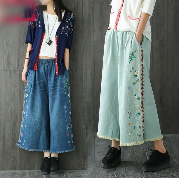National wind embroidery Wide leg pants jeans casual loose  Ankle-Length Pants trousers female summer national wind embroidery lace paneled v neck blouse