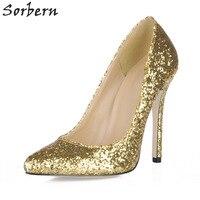 Sorbern Gold Pailletten Abendgesellschaft Schuhe Nachtclub Glitter Frauen Pumpen Stilettos Sexy Tanzschuhe High Heels Benutzerdefinierte Farben