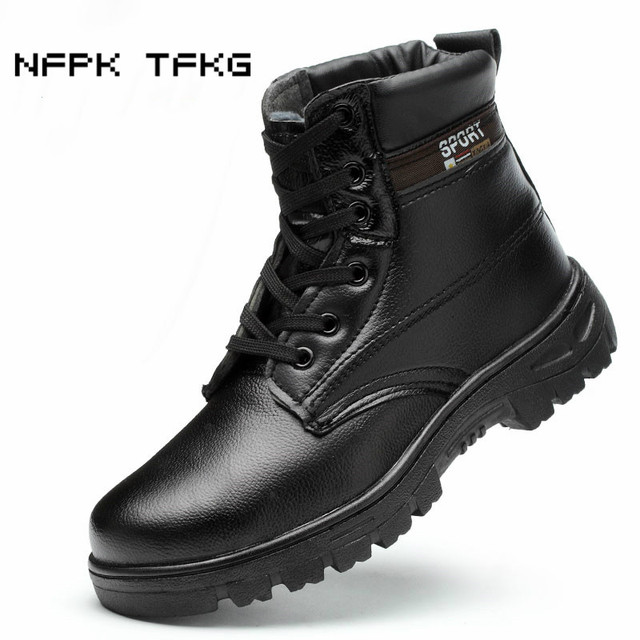 large size men fashion soft leather steel toe caps work safety warm cotton shoes winter plush ankle snow boots security protect