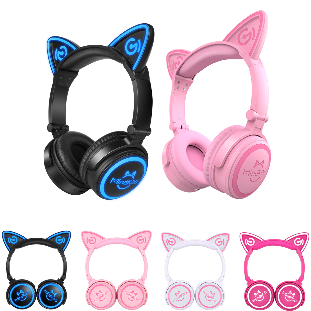 Mindkoo Cat Ear Bluetooth Headphones LED Wireless Stereo Headset Flashing Glowing Cat Ear Gaming Headset with mic for Adult kid slogan print cat ear marled hoodie