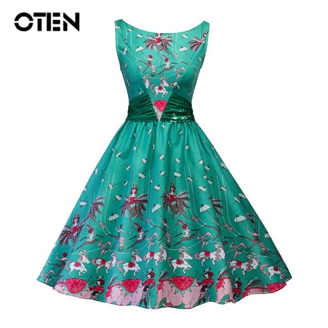 19079a18f1357 OTEN 2018 Summer Women fashion clothing Sleeveless Casual Character Print  Patchwork Vintage Retro Skater Swing Green Midi dress