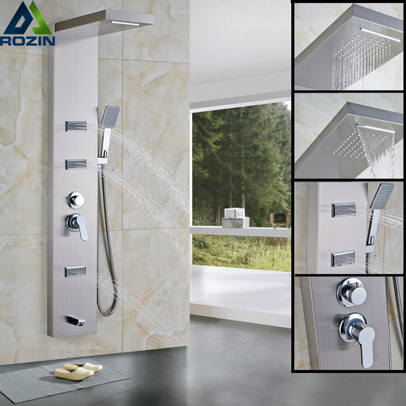 newly 304 stainless steel bathroom rain waterfall shower panel body massage jets system wall mounted shower