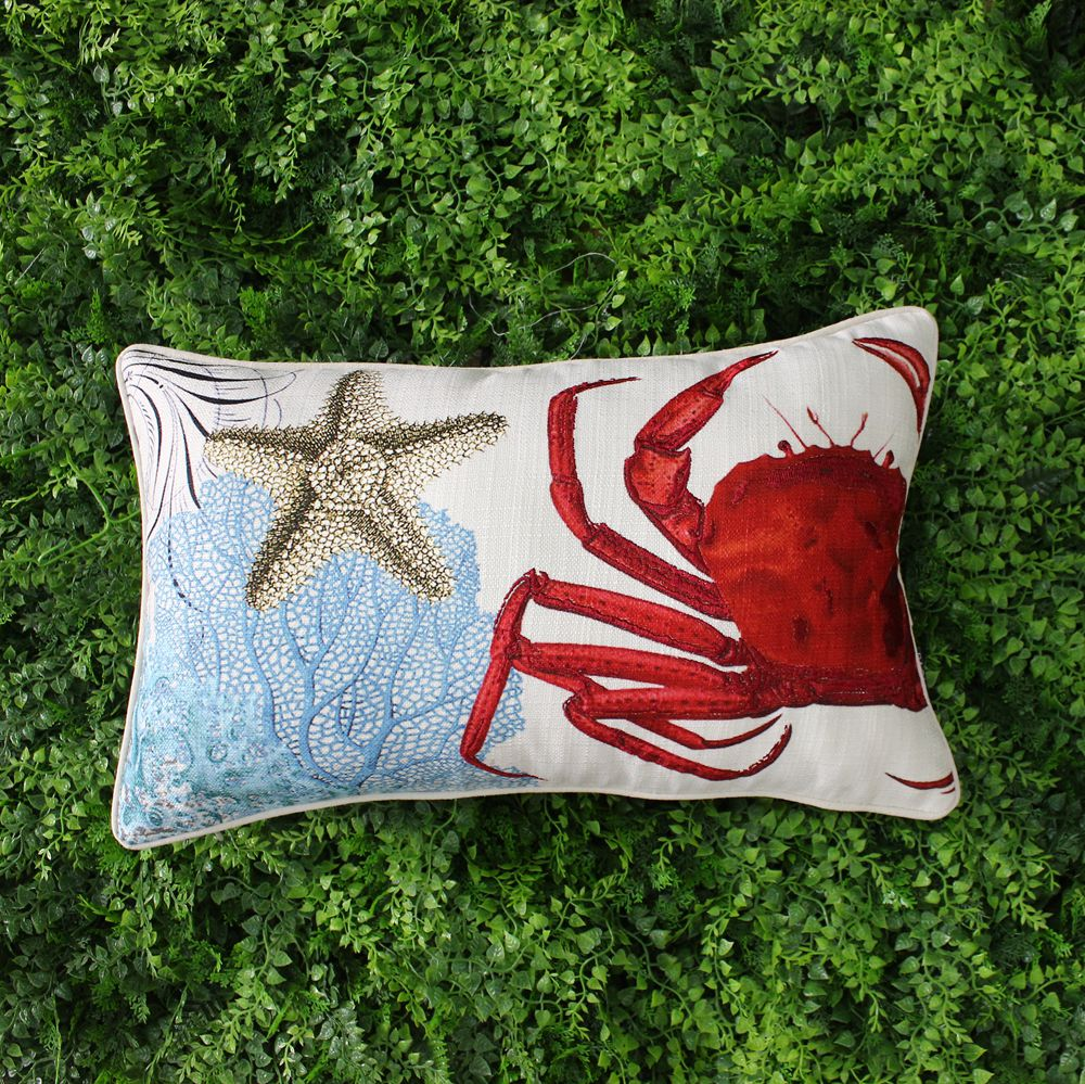 Coral Sofa Pillow: VEZO HOME Printed Crab Coral Sofa Cushions Cover Home