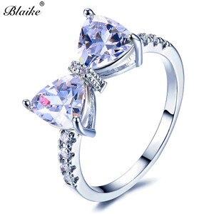 Женское кольцо с бантом Blaike, белое золотое кольцо с четырьмя когтями, модные украшения из кубического циркония, подарок на день рождения