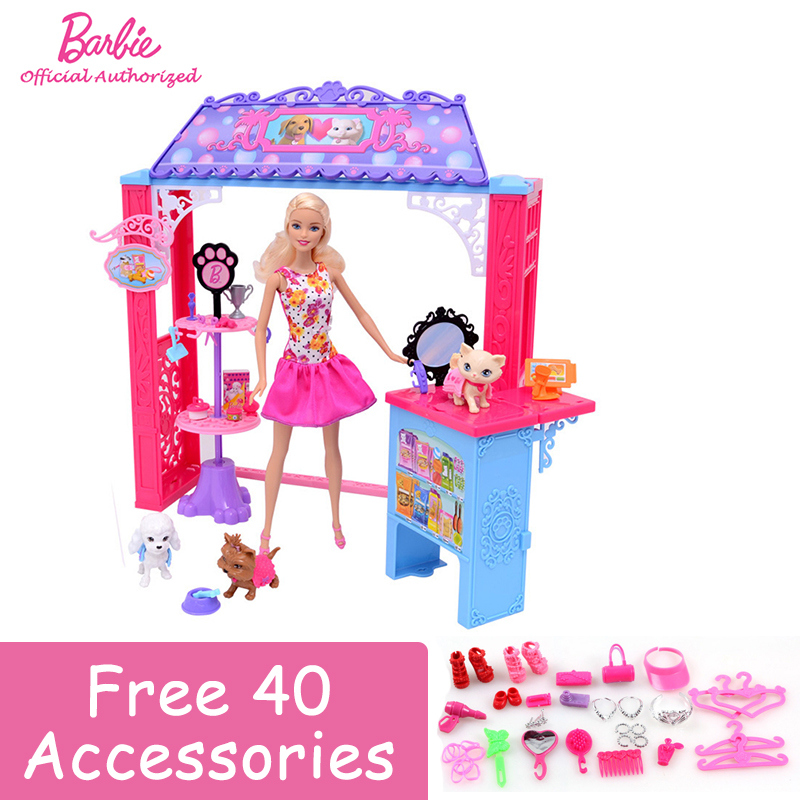 Free Shipping Original Barbie's Friend House Little Pet Store Cute Rome Baby Girl Barbie Boneca Set Mode BDF49 For Gift цена