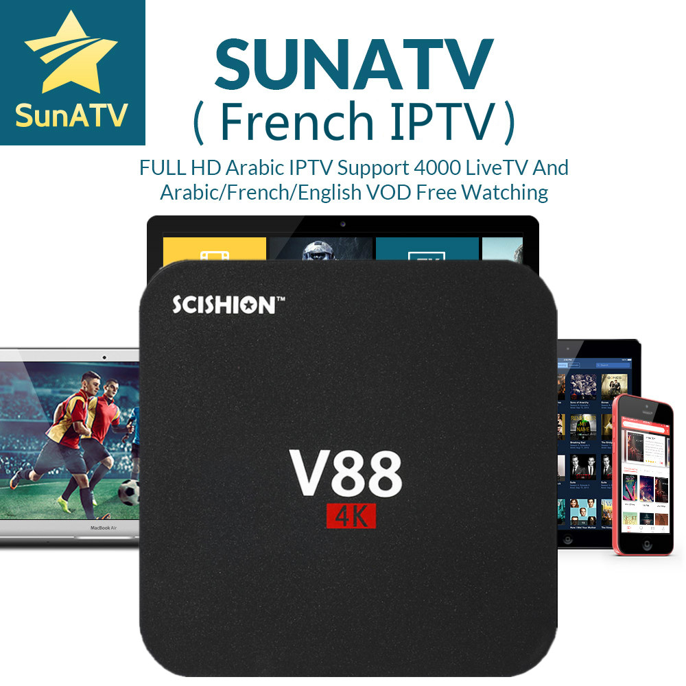 1 Year French IPTV box V88 1 8G Android TV Box SUNATV configured Arabic IPTV Europe