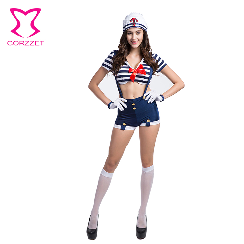 <font><b>Blue</b></font> / White Striped <font><b>Sexy</b></font> Sailor <font><b>Costume</b></font> Adult <font><b>Halloween</b></font> <font><b>Costumes</b></font> <font><b>For</b></font> <font><b>Women</b></font> image
