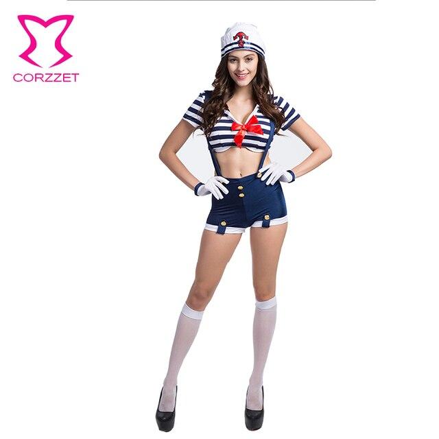 24ea7d4aa Azul blanco a rayas traje de marinero sexy disfraces de Halloween para las  mujeres