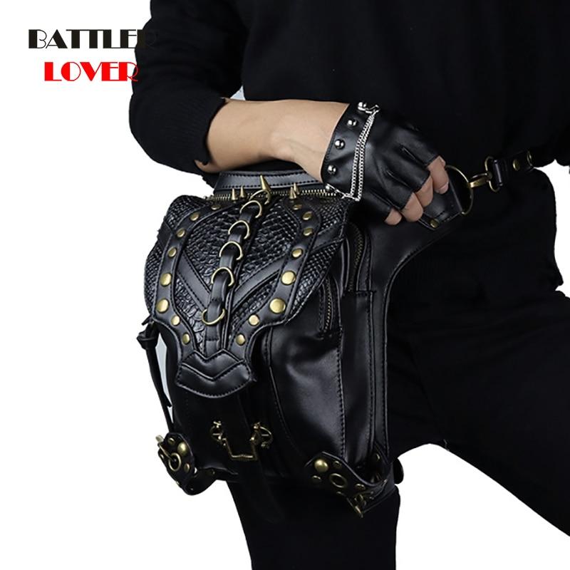 Punk Rock Waist Bag Womens Vintage Gothic Shoulder Bags Female Femme Leather Rivet Cross Body Messenger Bag for Ladies Steampunk