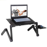 Portable Foldable Adjustable Laptop Desk Computer Table Stand Tray Notebook Lap PC Folding Desk Table with Mouse with fan|Laptop Desks| |  -