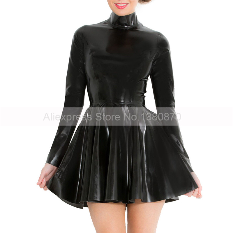 Long Sleeve Rubber Latex Women Dance Dress with Back Zip to Waist S LD214
