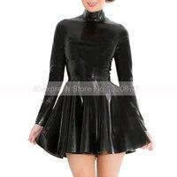 Long Sleeve Rubber Latex Women Dance Dress with Back Zip to Waist S LD214