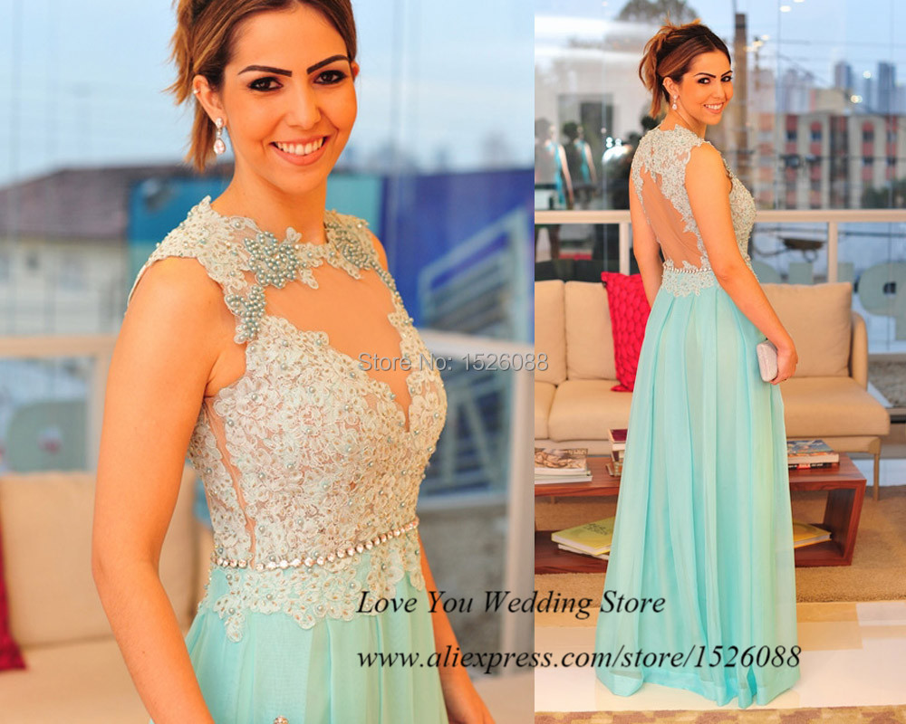 Robe De Soiree Mint Green Long Elegant Prom Dresses 2015 Transparent Lace Formal Evening Gowns Pearls Special Occasion