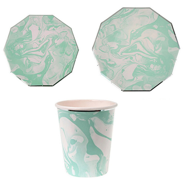 Christmas Party Paper Plates Part - 27: 8Pcs/Set Mint Green Marble Stripes Disposable Tableware Party Paper Plates  Cups For Wedding Christmas
