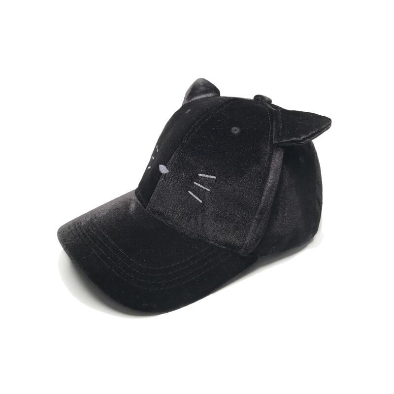 2017 new Women cat ear Velvet winter Cap Soft Fashion Hats for Women Hip Hop Solid Color lovely super Warm girl Baseball Caps fashion solid color baseball cap for men and women