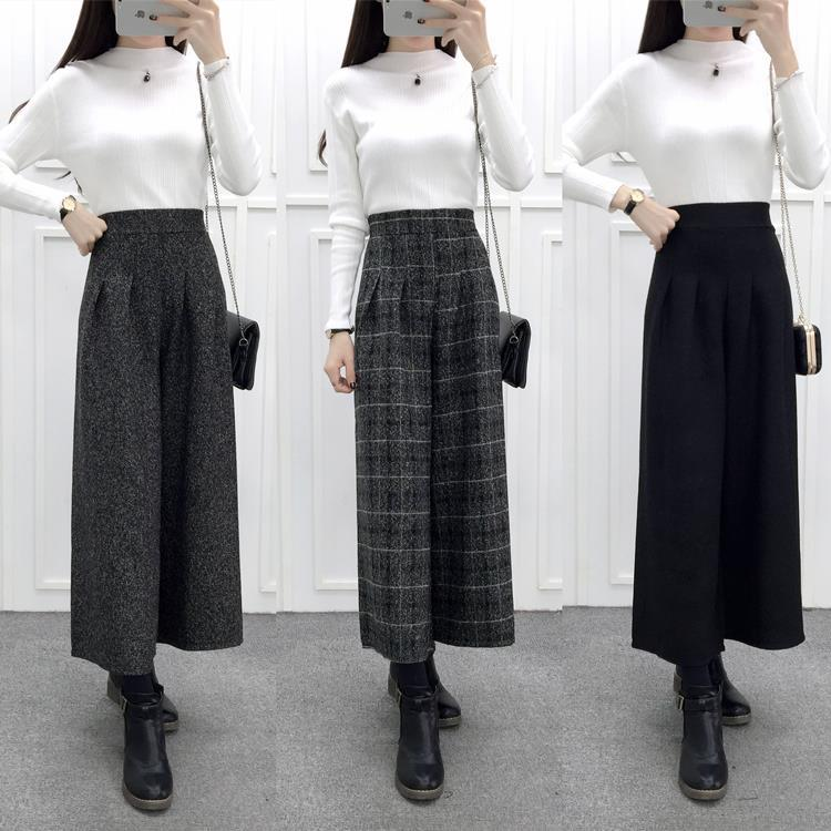 ZHISILAO Loose Trousers Women Winter Warm Wool Wide Leg Pants Maxi Plaid High Waist Trousers Elastic Thick Black Pants Casual 2