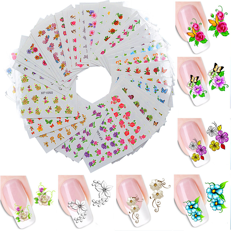 60 Sheets Nail Art Flower Water Tranfer Sticker Nails Beauty Wraps Foil Polish Decals Temporary Tattoos Watermark 8 sheets package temporary jewelry tattoos metallic tattoo fashion accessory body art tattoos