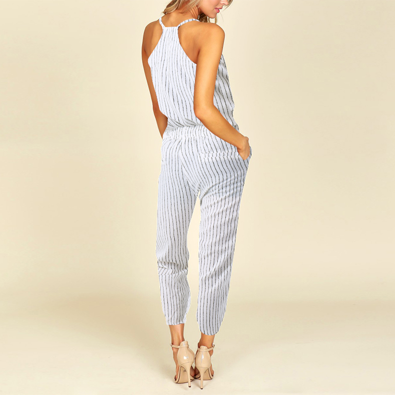146494e5e84 2018 Summer ZNAZEA Rompers Women Striped Jumpsuits Casual Sleeveless  Elastic Waist Strappy Bodysuits V Neck Long Playsuit S 5XL-in Jumpsuits  from Women s ...