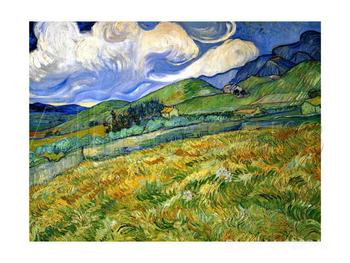 Wheatfield and Mountains by Vincent Van Gogh Oil painting reproduction home decor Hand painted High quality