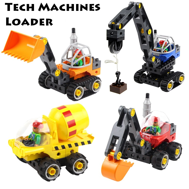Engineering car sets DIY Assembly tech Machines Loader Big size Building Blocks compatible duplo Bricks science Children Toys new big size 40 40cm blocks diy baseplate 50 50 dots diy small bricks building blocks base plate green grey blue