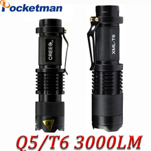 Mini Cree xml t6 q5 flashlight powerful Zoomable Tactical Flashlight waterproof led torch lanterna flash max 3000 lumens ZK93