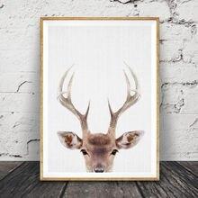 Голова оленя и рога печать леса декоративная стена для детского