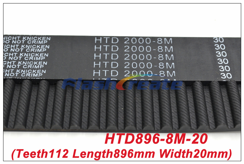 2pcs HTD8M Belt 896 8M 20 Teeth=112 Length=896mm Width=20mm 8M Timing Belt Rubber Closed-Loop Belt 896-8M S8M Timing Pulley
