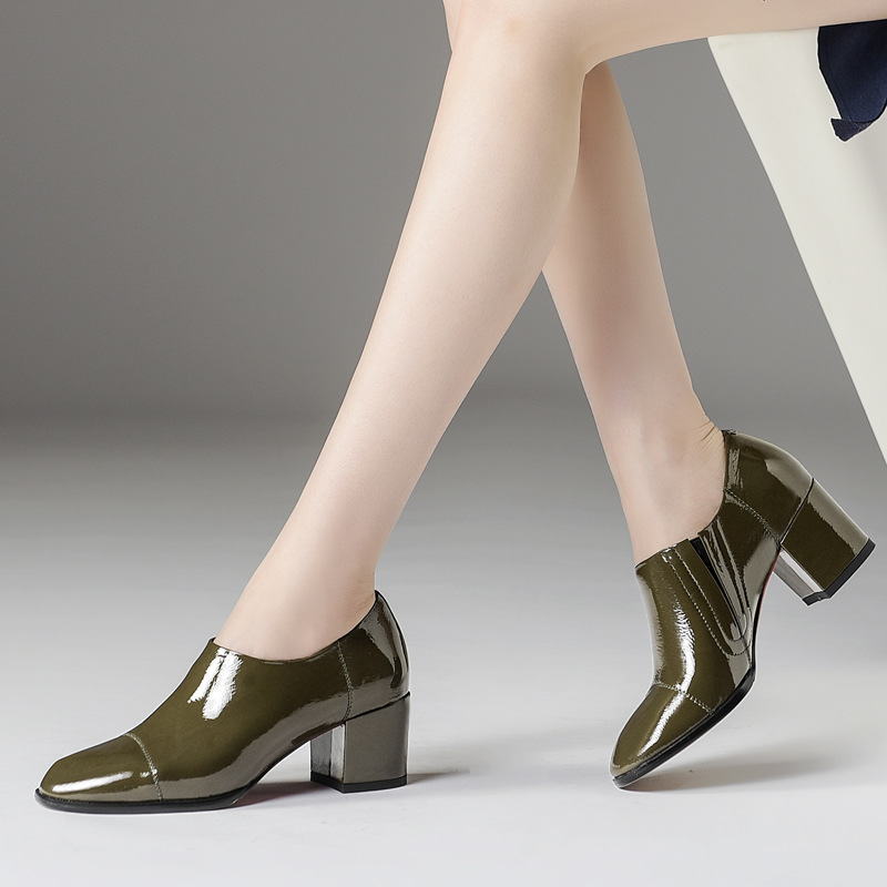 Luxury noble brand top layer cowhide deep mouth women 39 s single shoes England thick with square head leather Brock shoes women in Women 39 s Pumps from Shoes