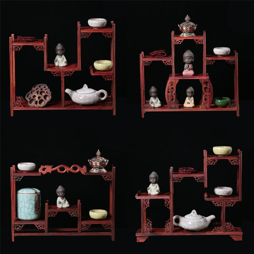 Antique Style Solid Wooden Frame Treasure House Display Rack Thailand Rosewood Display Teapot Shelf Study Room Decoration wall shelf for tea pots
